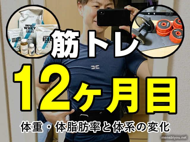 【筋トレ】運動ゼロから1年続けた見た目と筋肉量の変化(成果と効果)-00